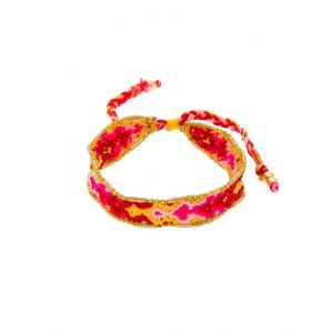 Festival Friendship Handwoven Bracelet in pink and Red