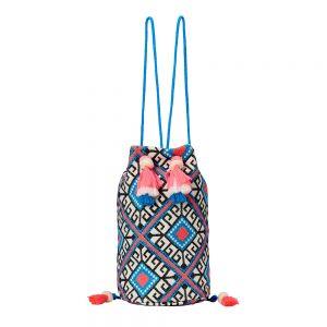 Malibu Bucket Backpack with Pink and Blue Geometric Pattern