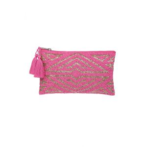 New York Art Deco Beaded Pouch in Pink