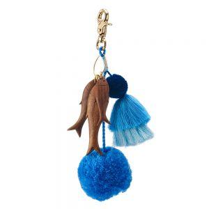 Tropical Charm Pompom keyring Blue / Fish