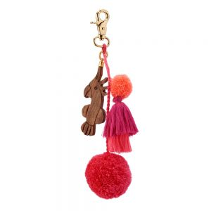 Tropical Charm Pompom keyring Red / Parrot