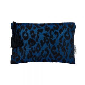 Ashiana Navy Leopard Clutch
