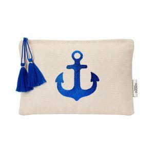 Mini Tropics Make Up Pouch Blue anchor