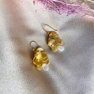 Winona Gemstone Cluster Coin Earrings in Moonstone