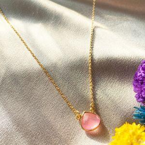 Cosmos Mini Gemstone Necklace Pink Jade