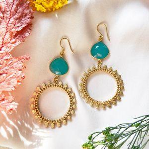 Sunray Earrings Aqua Chalcedony