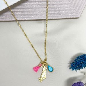 Cockatoo Charm Necklace Turquoise