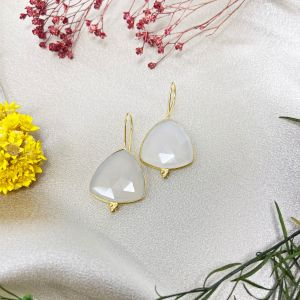 Nevis Earrings White Chalcedony