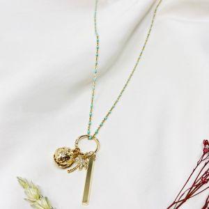 Summer Palm Long Necklace Aqua