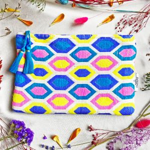 Miami Make-up Pouch Blue, Yellow, Pink Geo
