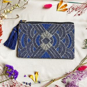 Chrysler Beaded Pouch Navy & Silver