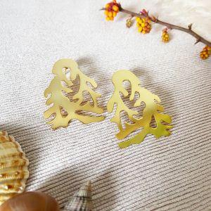 Gold Coral Earrings Ashiana