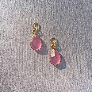 Joy Pink Jade Charm Pair - Gold