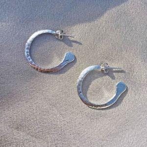 Bowie Medium Silver Hoop Earrings