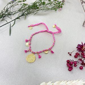 Mireya Knotted Disc Bracelet in Pink