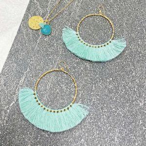 Aquata Fringe Earrings in Aqua