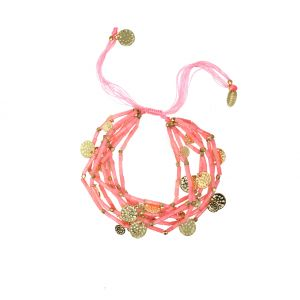 Balearic Multi Row Gemstone Bead Bracelet in Pink Agate