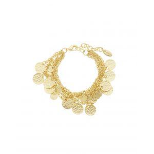 Alena Multi Row Coin Bracelet in Gold