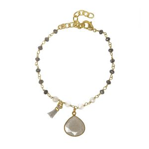 Portia Gemstone Bracelet Grey Moonstone