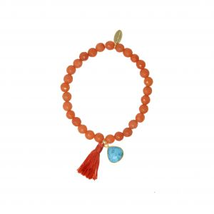 Bella Beaded Friendship Bracelet in Orange Agate and Turquoise