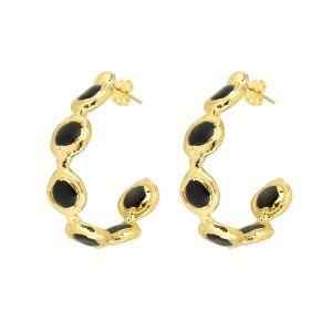Chloe Gemstone Hoop Earrings Black