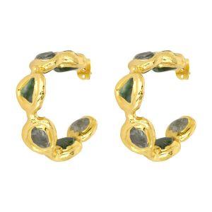 Chloe Gemstone Hoop Earrings Green & Labradorite