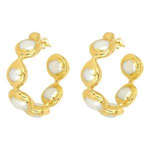Chloe Gemstone Hoop Earrings Pearl