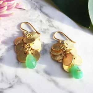 Winona Earrings Green Chrysoprase