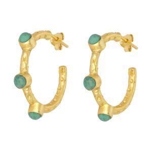 Mini Cruise Earrings Green Agate