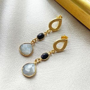 Elara Earrings Navy Sunstone & Grey Moonstone