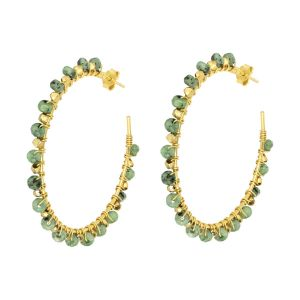 Riva Gemstone Hoop Earrings Green Chrysoprase