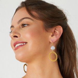 Sunray Earrings White Chalcedony
