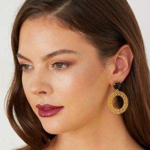 Luisa Hoop Earrings Black Onyx
