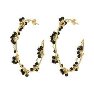 Odette Hoop Earrings Black Onyx