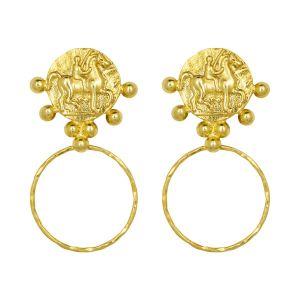 Golden Horseman Hoop Earrings Gold