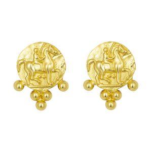 Golden Horseman Stud Earrings Gold