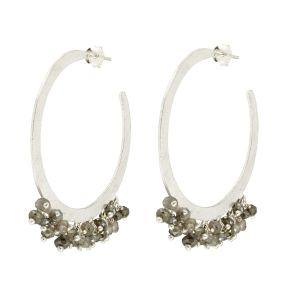 Raphaela Hoop Earrings Silver - Labradorite