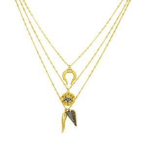 Gabrielle Charm Necklace Gold
