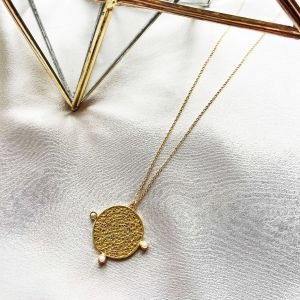 India Long Coin and Pearl Pendant Necklace
