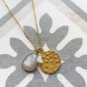 Spell Coin Charm Necklace Grey Moonstone