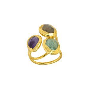Amelie Ring Green, Grey, Purple