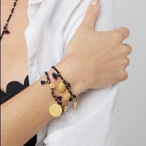 Mireya Knotted Disc Bracelet in Navy