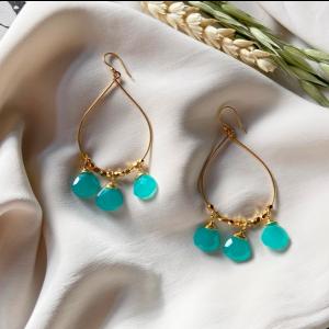 Bella Earrings Aqua Chalcedony