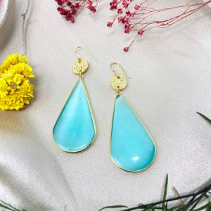 Marigold Earrings Aqua