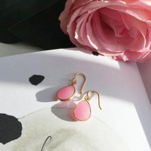 Ava Pink Jade Gemstone Drop Earrings