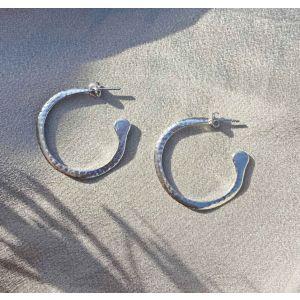 Esme Large Silver Hoop Earrings